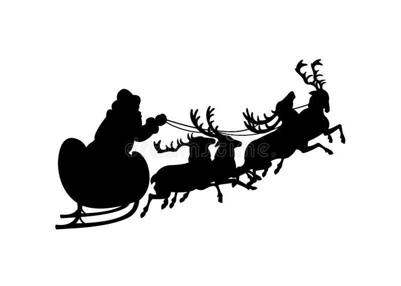 Santa sanie i reniferowa czarna sylwetka royalty ilustracja