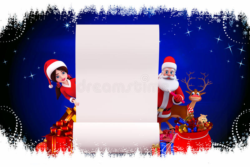 Download Santa And Santa Girl With Sign On Blue Background Stock Illustration - Image: 26828711