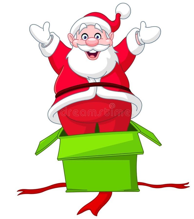 Santa saute du boîte-cadeau illustration libre de droits