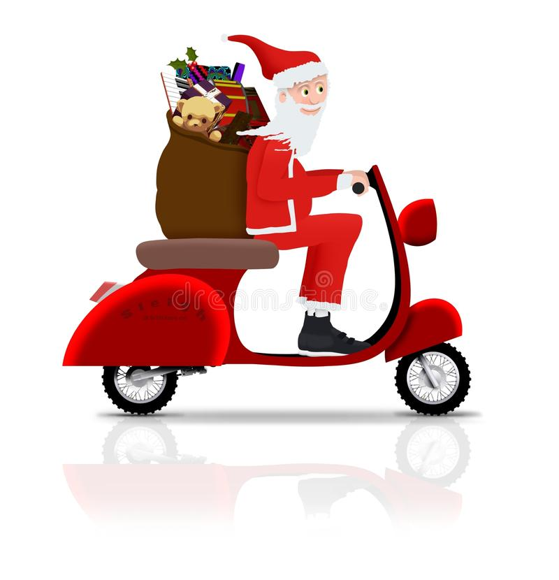 Santa on Scooter stock photos