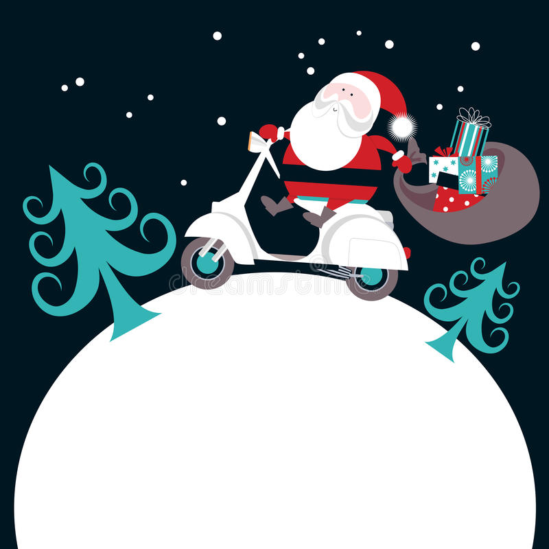 Download Santa on Scooter stock vector. Image of christmas, hill - 27490463