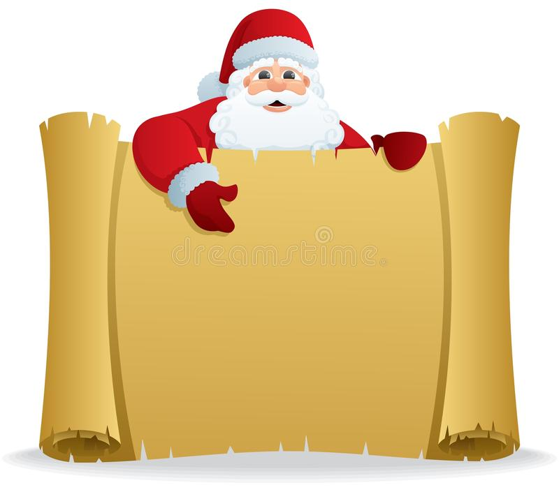 Santa Scroll. Santa, holding a scroll with copy space for your text. No transparency used. Basic (linear) gradients used vector illustration
