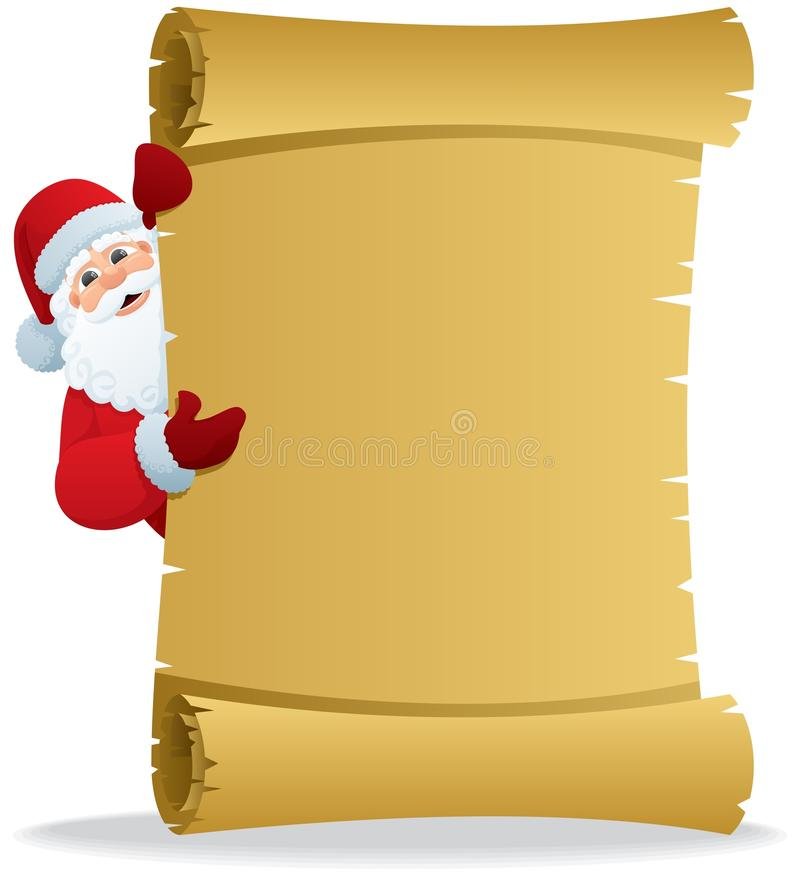 Santa Scroll 2. Santa, holding a scroll with copy space for your text. No transparency used. Basic (linear) gradients used stock illustration