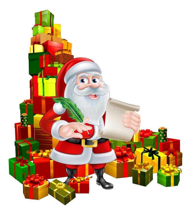 Santa With Scroll och gåvor royaltyfri illustrationer