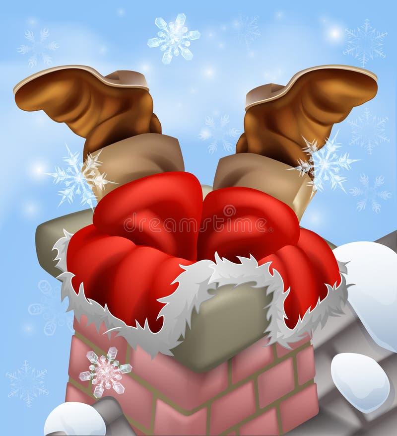 Santa se pegó en una chimenea stock de ilustración