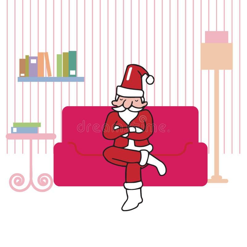 Santa se reposant dans le salon illustration libre de droits