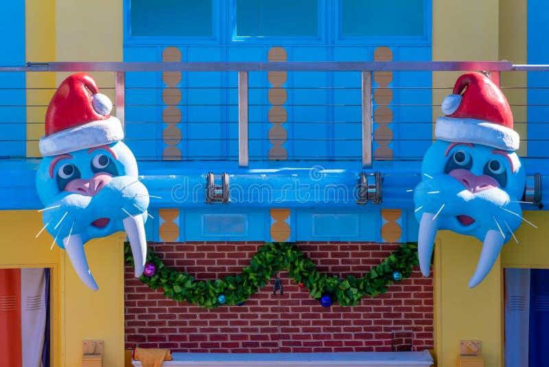 Santa Sea Lions in High Christmas Special Show sign at Seaworld. Orlando, Florida. December 07, 2019. Santa Sea Lions in High Christmas Special Show sign at royalty free stock image