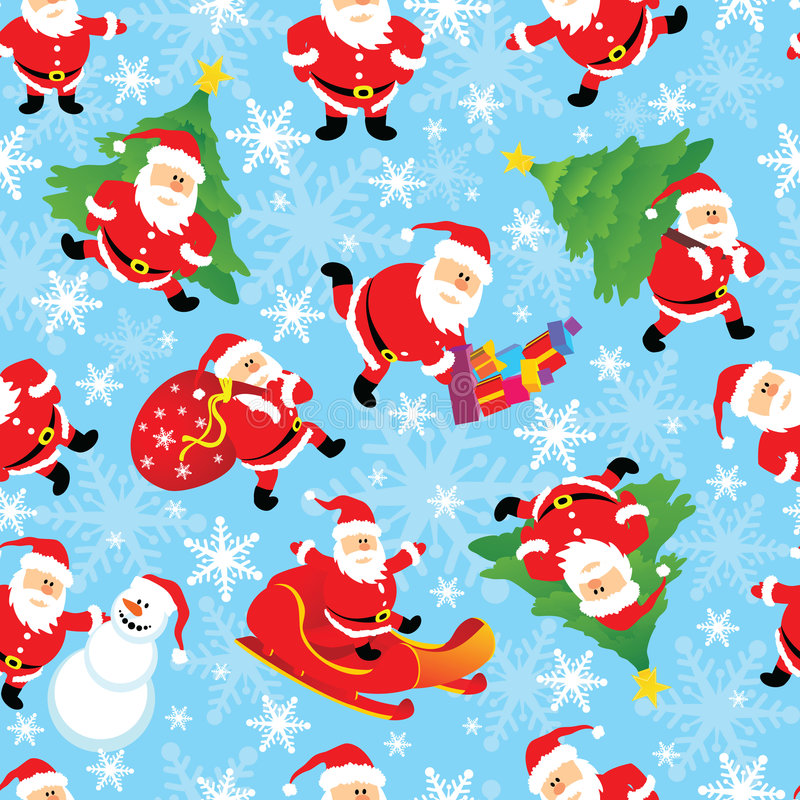 santa seamless vektor stock illustrationer