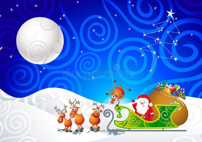 Santa, seu trenó e sua rena ilustração royalty free