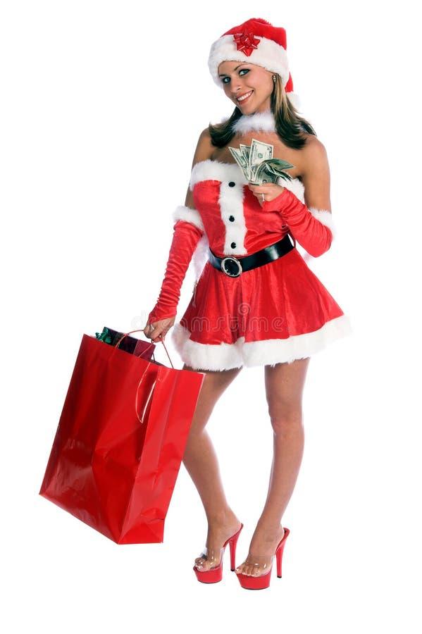 santa shopping arkivfoto