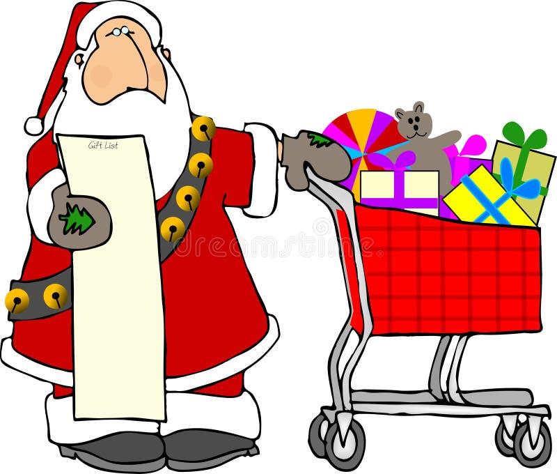 santa shopping royaltyfri illustrationer
