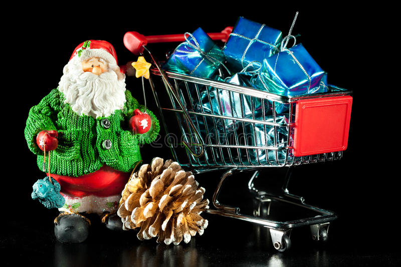 Santa And Shopping Cart Stock Image