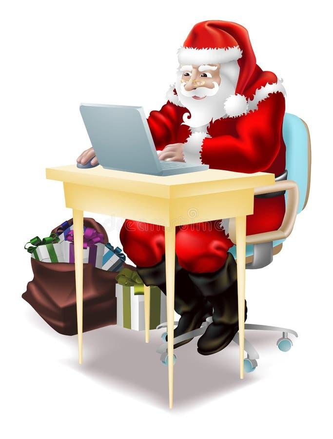 Santa shops on-line! stock illustration