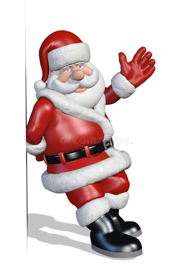 Santa si appoggia a contro un bordo o un bordo royalty illustrazione gratis