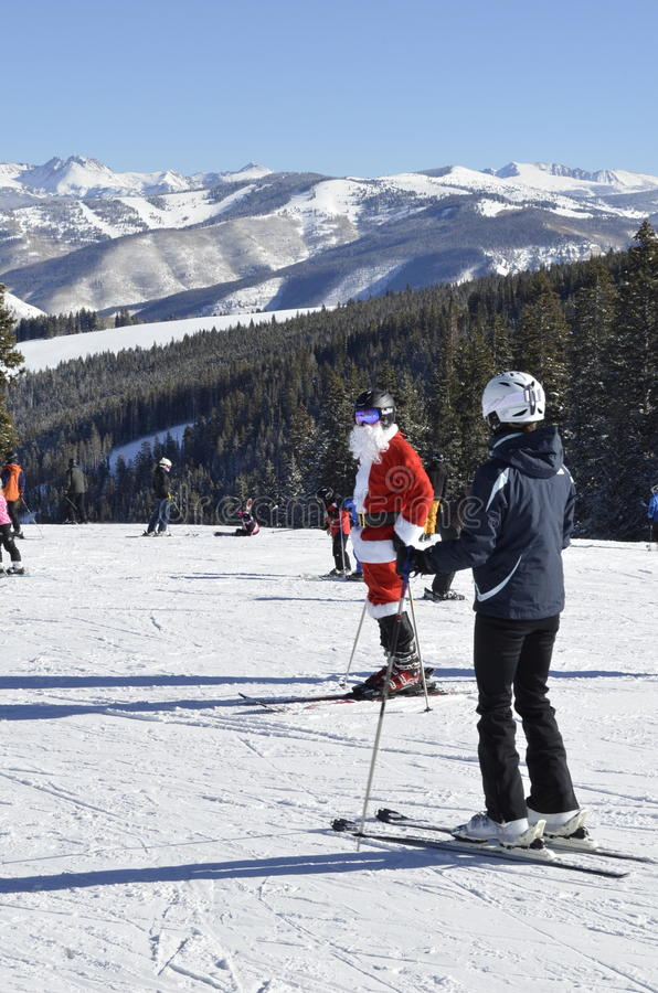 Santa Sighting; Un miracolo di Natale, Beaver Creek, località di soggiorno di Vail, Avon, Colorado immagini stock libere da diritti