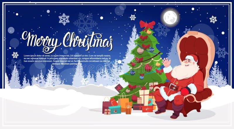 Santa Sitting In Armchait In-Winter-Forest Near Christmas Tree Gift-Kasten-frohe Feiertage Plakat-Design lizenzfreie abbildung