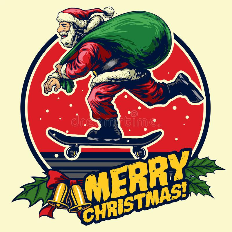 Santa skate badge design royalty free illustration