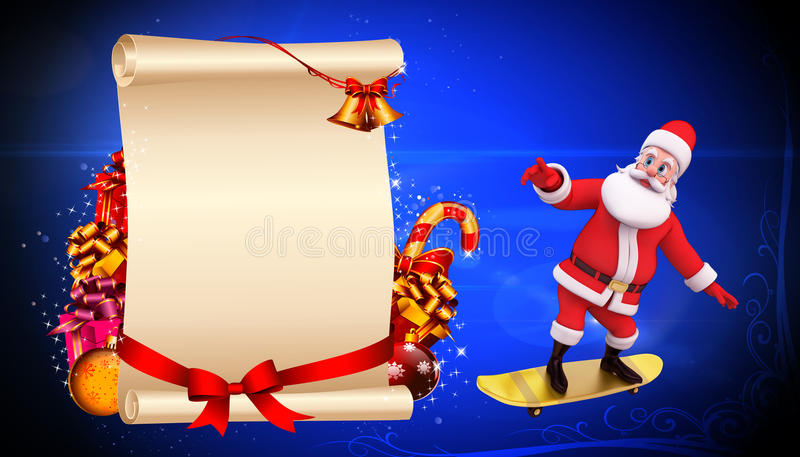 Santa Skate On Blue Background Stock Photography