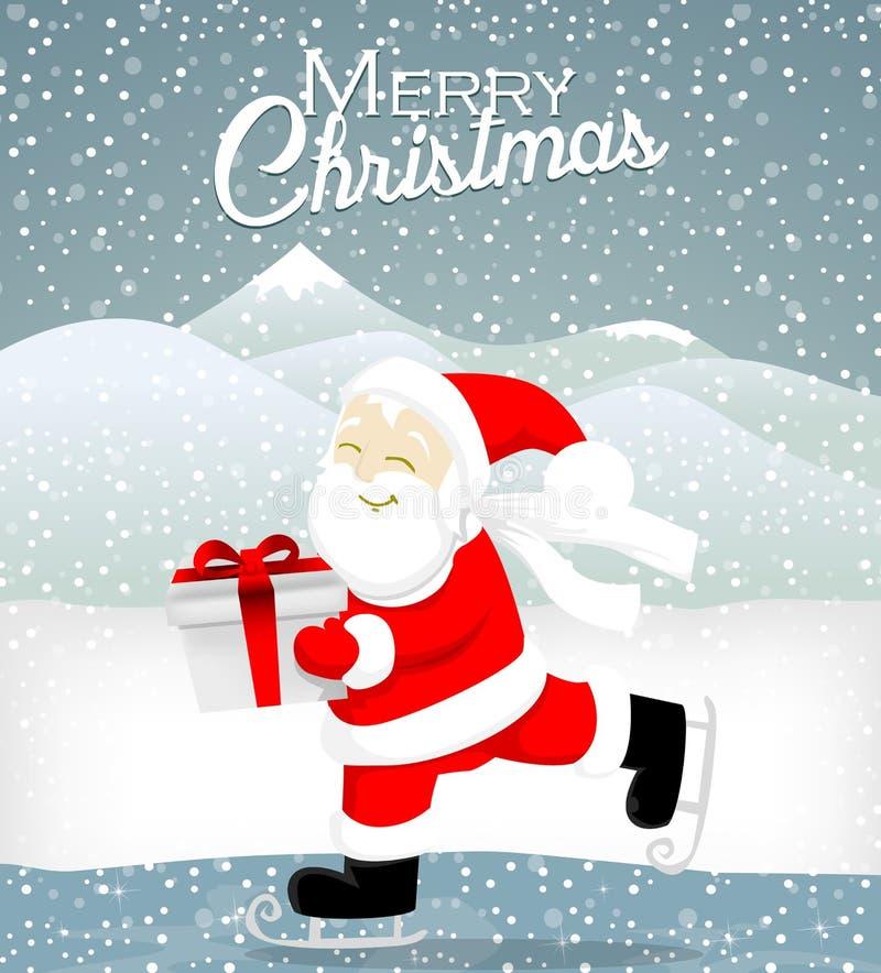 Santa skate on ice stock illustration