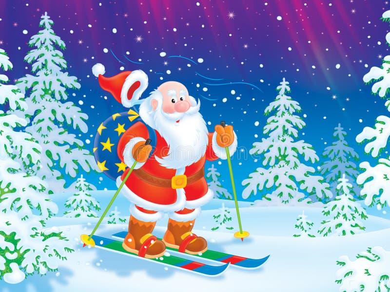 Santa skidåkning med en toysäck stock illustrationer