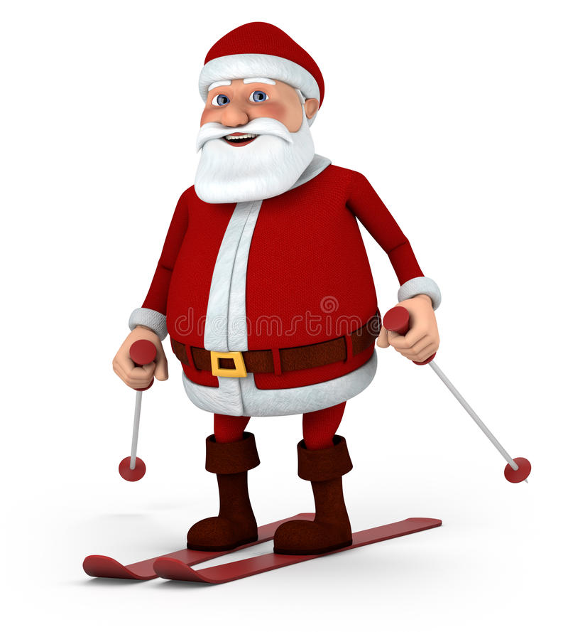 Santa skiing stock illustration