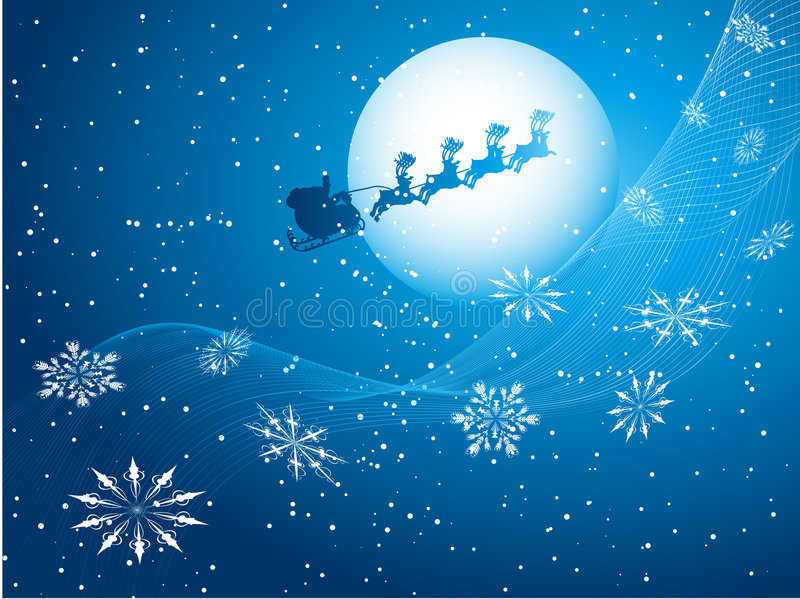 Santa in the sky royalty free stock photography