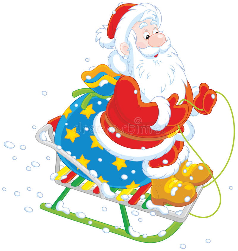 Santa sledding with gifts stock illustration