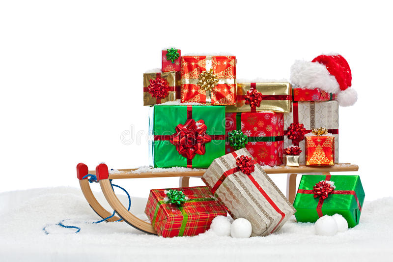 Santa Sledge Loaded With Gift Wrapped Presents Royalty Free Stock Photography
