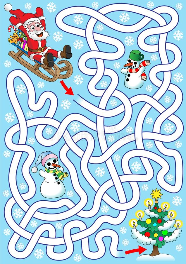 Santa on the sledges stock illustration
