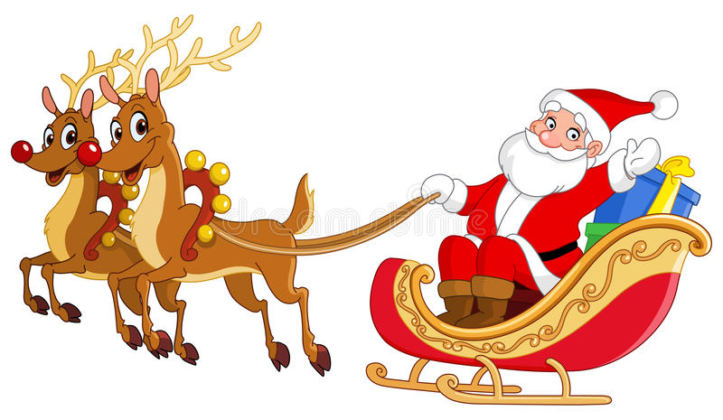 Santa sleigh stock illustration