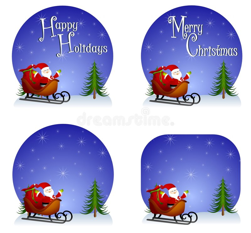 Santa Sleigh Backgrounds. An illustration featuring your choice of Santa Claus in sleigh set against blue with 'Happy Holidays', 'Merry Christmas' or blank vector illustration