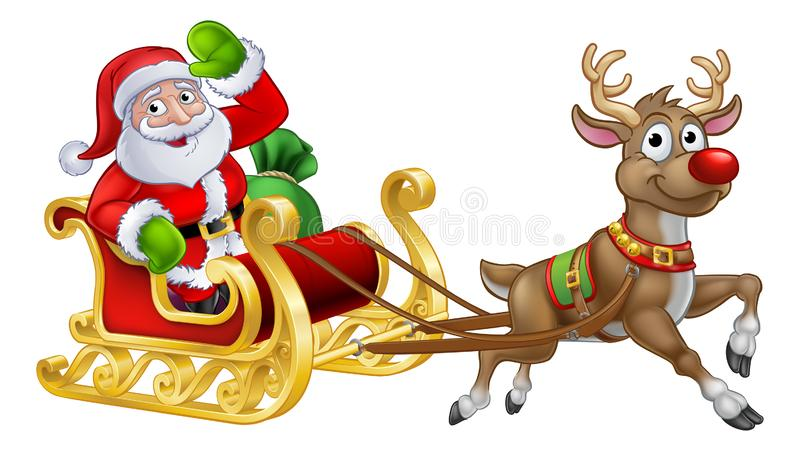 Santa Sleigh Christmas Cartoon stock illustratie
