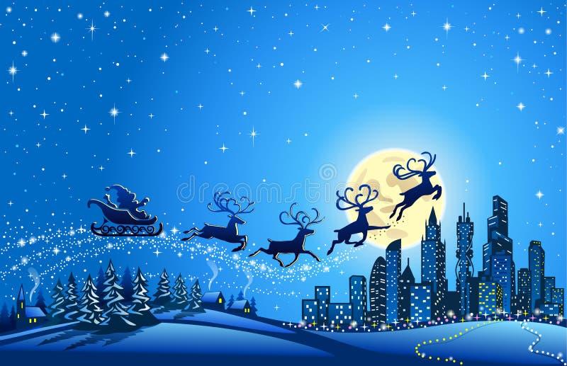 Santa Sleigh Closer aan de Grote Stad stock illustratie