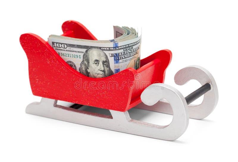 Santa Sleigh en Geld royalty-vrije stock foto's