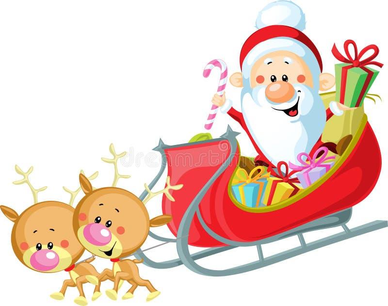 Santa Sleigh en Rendier vector illustratie