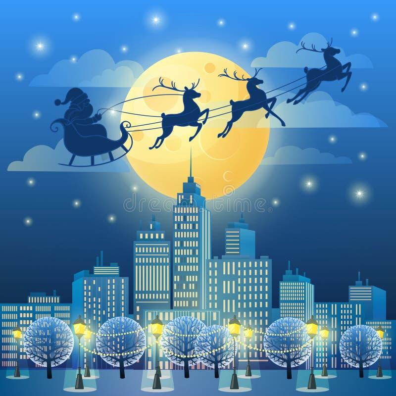 Santa Sleigh in het Maanlicht Kerstmis en Nieuwjaarcityscape vector illustratie