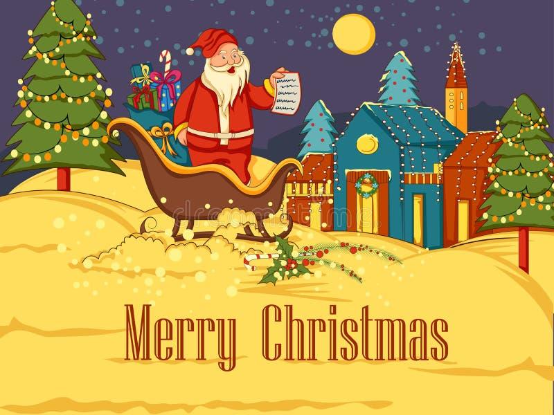 Santa Sleigh-hoogtepunt van gift voor Vrolijke de vieringsachtergrond van de Kerstmisvakantie stock illustratie
