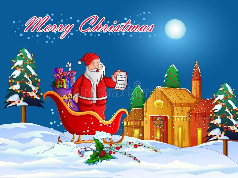Santa Sleigh-hoogtepunt van gift voor Vrolijke de vieringsachtergrond van de Kerstmisvakantie royalty-vrije illustratie