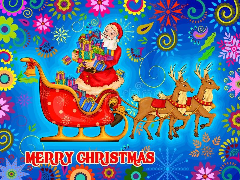Santa Sleigh-hoogtepunt van gift voor Vrolijke de vieringsachtergrond van de Kerstmisvakantie vector illustratie