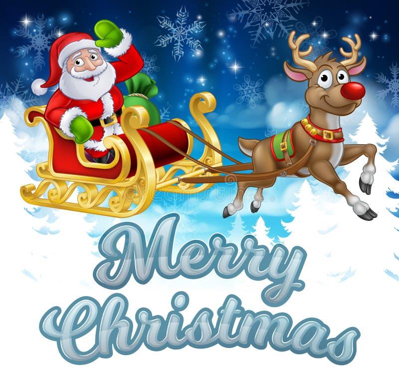 Santa Sleigh Merry Christmas Cartoon-Achtergrond royalty-vrije illustratie