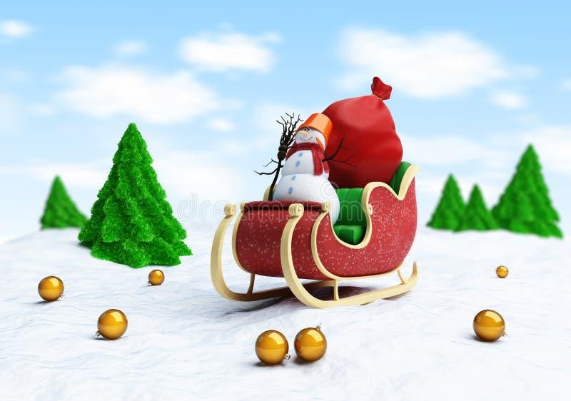 Santa sleigh och Santas säck med gåvasnowmanen vektor illustrationer