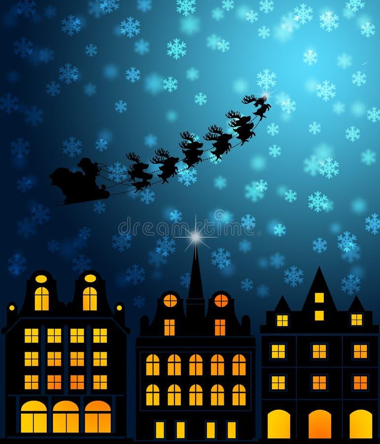 Download Santa Sleigh Reindeer Flying Over Victorian Houses Stock Illustration - Illustration: 22111767