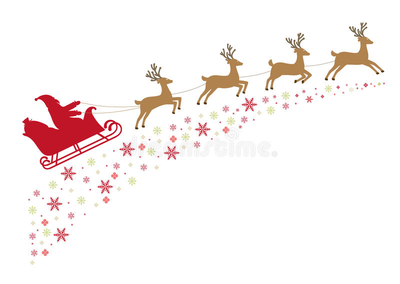 Santa on a sleigh with reindeer in harness flies along snowy sta. Rs. Illustration vector illustration