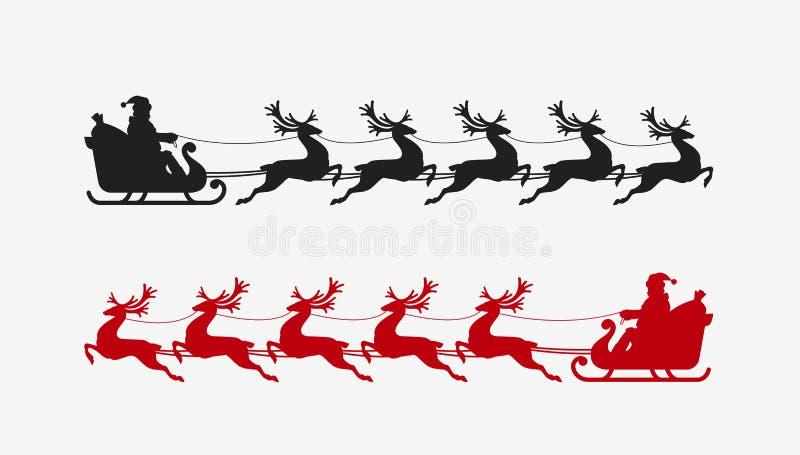 Santa sleigh reindeer silhouette. Christmas symbol. Vector illustration vector illustration