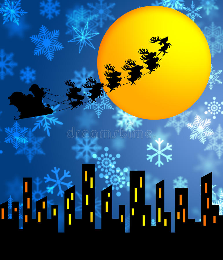 Download Santa Sleigh And Reindeers Flying Over The City Stock Illustration - Illustration of greeting, poster: 21904491