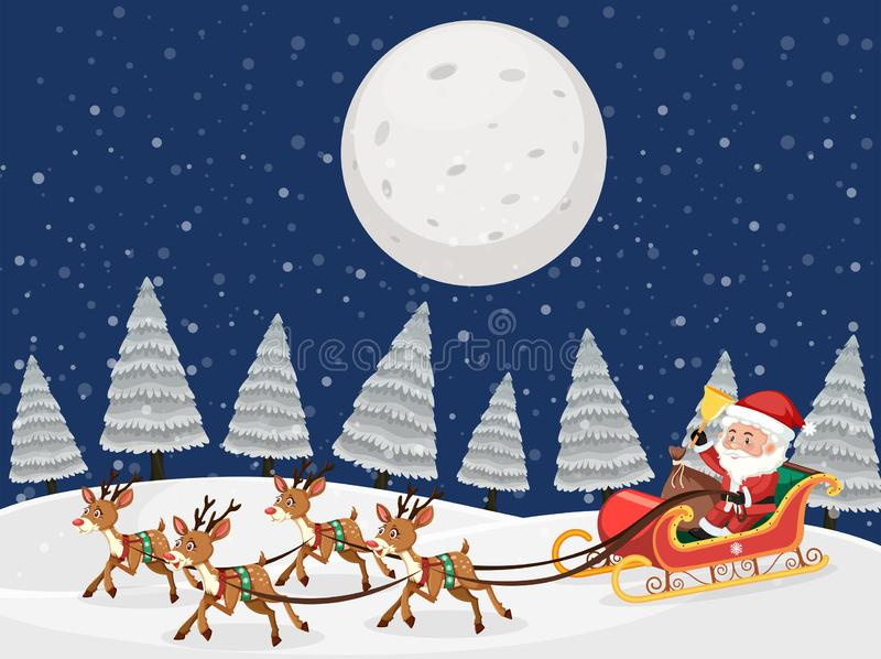 Santa on sleigh with reindeers snow night scene. Illustration vector illustration