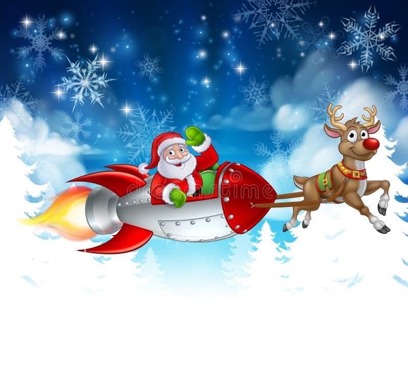 Santa Sleigh Rocket Christmas Background stock illustratie