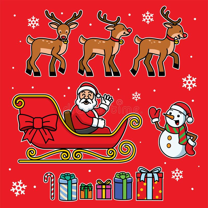 Santa sleigh set with cartoon style royalty free illustration