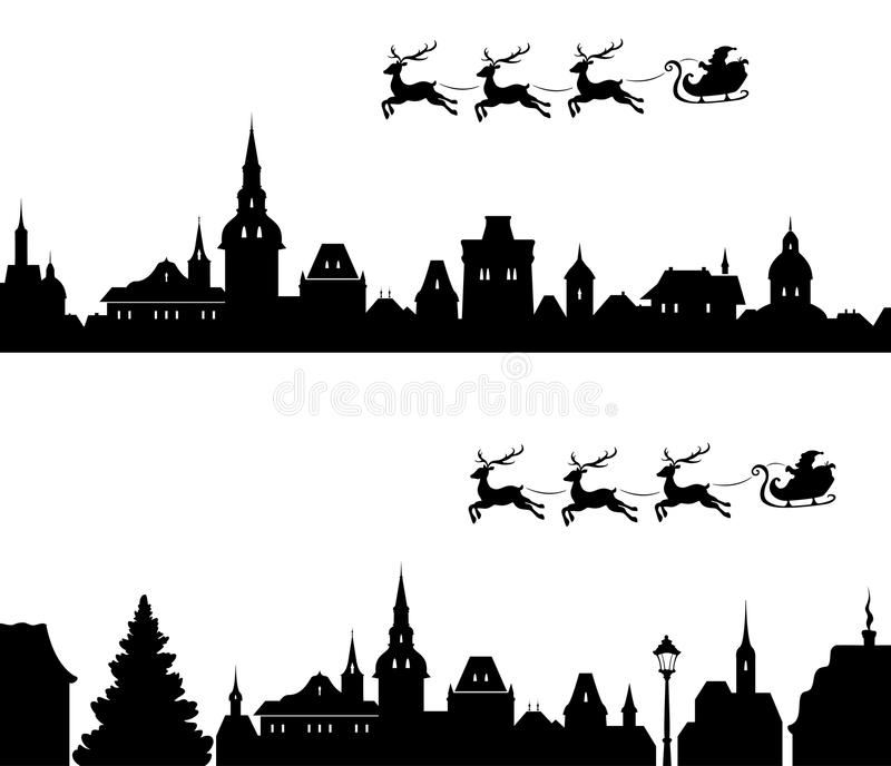 Santa Sleigh Silhouette royalty-vrije illustratie