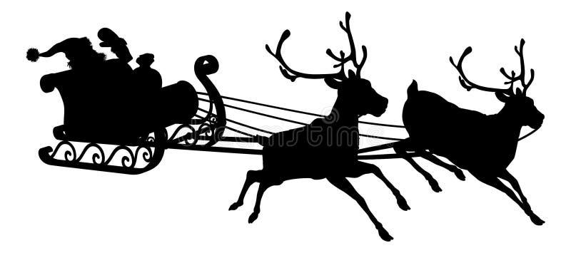 Santa Sleigh Silhouette stock illustratie
